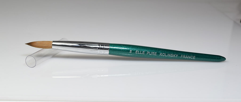 Acrylic Nail Brush Kolinsky | Elle Green Handle ROUND Size #08