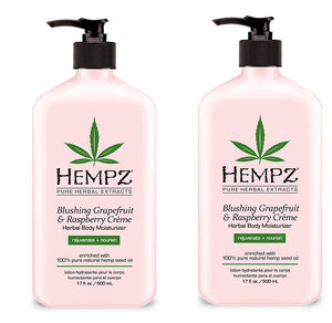 Hempz Lotion Pure Herbal Body Moisturizers 17 fl oz - BLUSHING GRAPEFRUIT & RASPBERRY CRÈME (pack of 2)