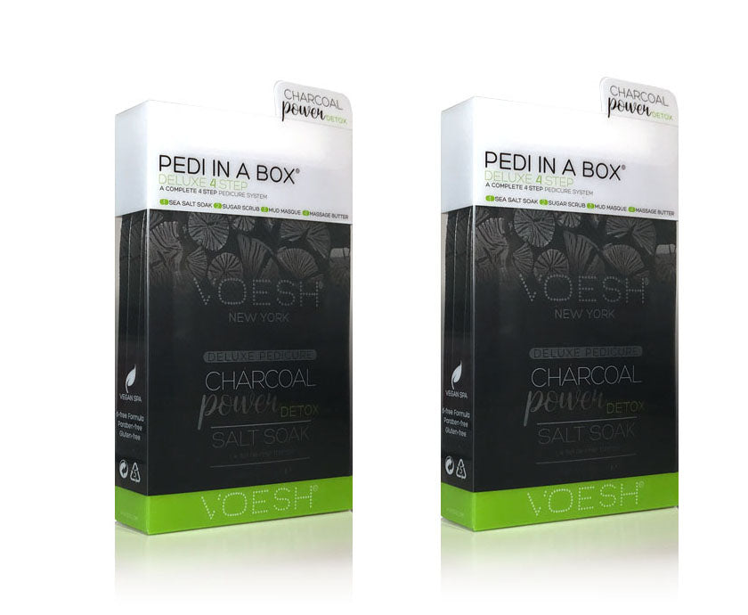 VOESH Pedi In A Box Deluxe 4 Step | CHARCOAL POWER DETOX (Pack of 2 sets)
