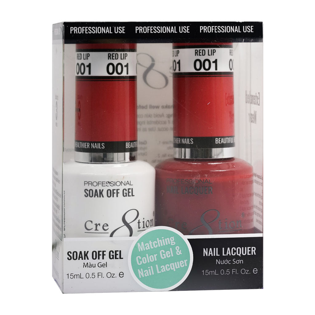 Cre8tion Soak Off Gel & Matching Nail Lacquer Set | 01 Red Lips
