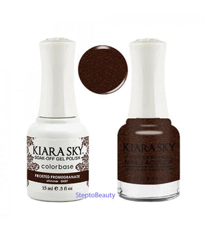 Kiara Sky Gel Polish + Matching Nail Lacquer - #457 FROSTED POMEGRANATE