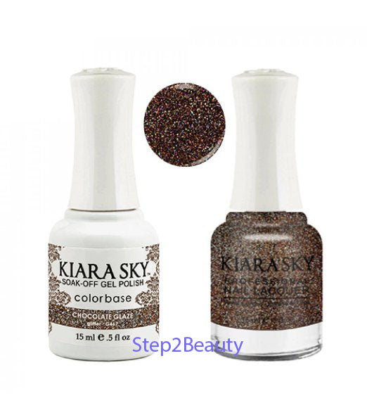 Kiara Sky Gel Polish + Matching Nail Lacquer - #467 CHOCOLATE GLAZE