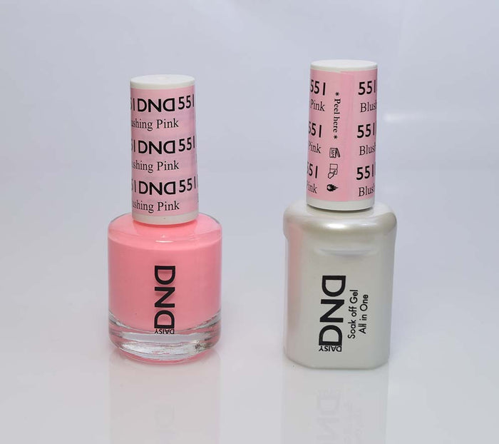DND - Soak Off Gel Polish & Matching Nail Lacquer Set - #551 BLUSHING PINK