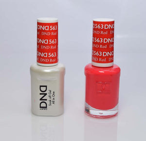 DND - Soak Off Gel Polish & Matching Nail Lacquer Set - #563 DND RED
