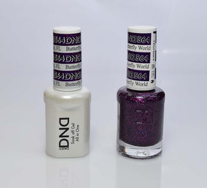 DND - Soak Off Gel Polish & Matching Nail Lacquer Set - #564 BUTTERFLY WORLD, FL