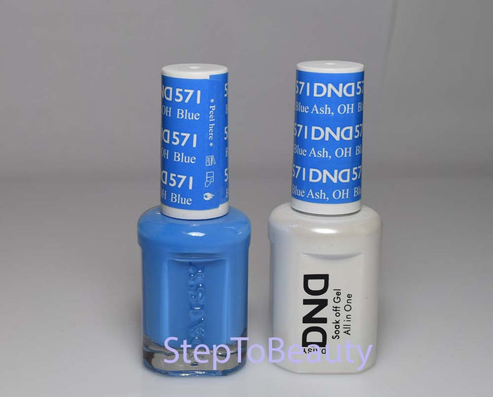 DND - Soak Off Gel Polish & Matching Nail Lacquer Set - #571 BLUE ASH, OH