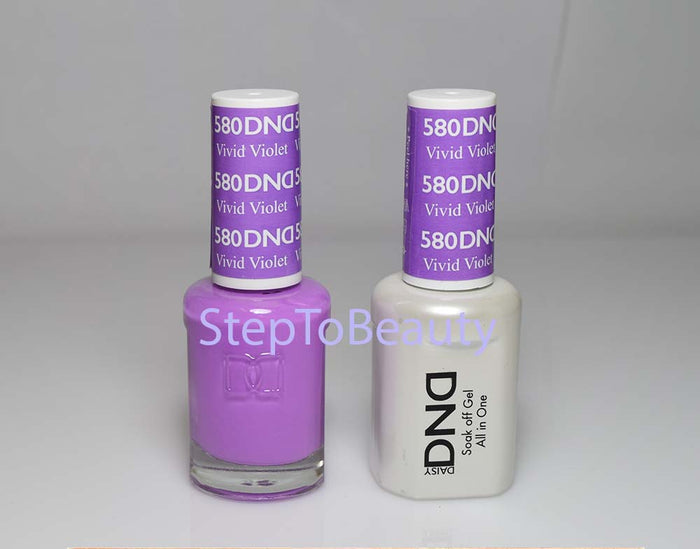 DND - Soak Off Gel Polish & Matching Nail Lacquer Set - #580 VIVID MIOLET