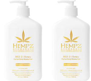 Hempz Lotion Pure Herbal Body Moisturizers 17 fl oz - MILK & HONEY (pack of 2)