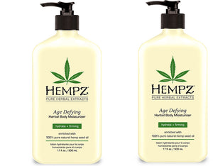 Hempz Lotion Pure Herbal Body Moisturizers 17 fl oz - AGE DEFYING (Pack of 2)