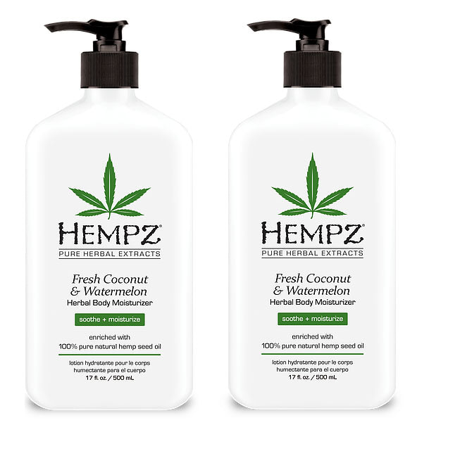 Hempz Lotion Pure Herbal Body Moisturizers 17 fl oz - FRESH COCONUT & WATERMELON ( Pack of 2)