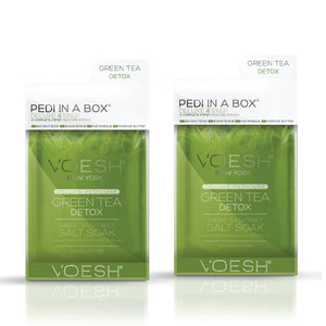 VOESH Pedi In A Box Deluxe 4 Step | GREEN TEA DETOX (Pack of 2 sets)