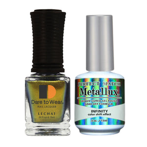 LeChat Perfect Match Metallux Soak off Gel Polish +Nail Lacquer #MLMS01 Infinity