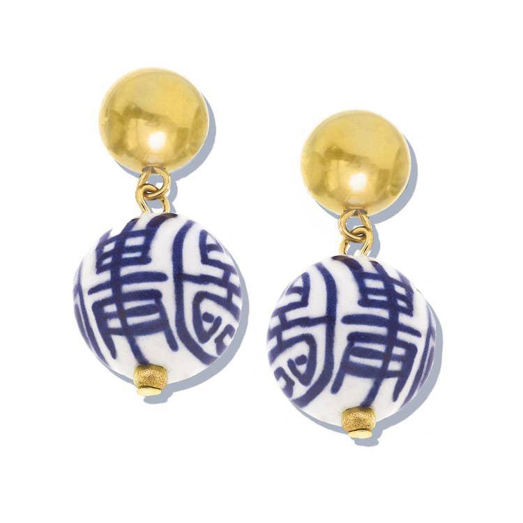 Susan Shaw Blue & White Margaret Drop Earrings