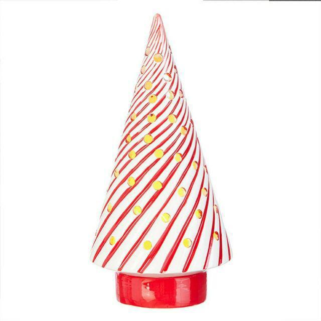 Red Stripe Lighted Tree
