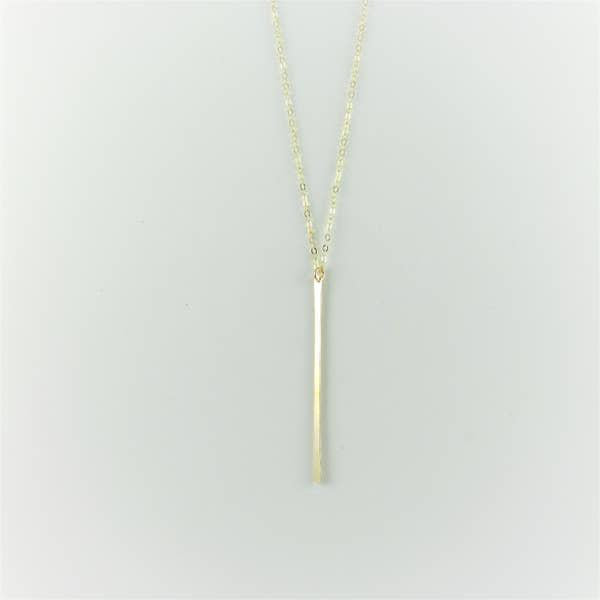 J Mills Gold Vertical Forged Bar Necklace