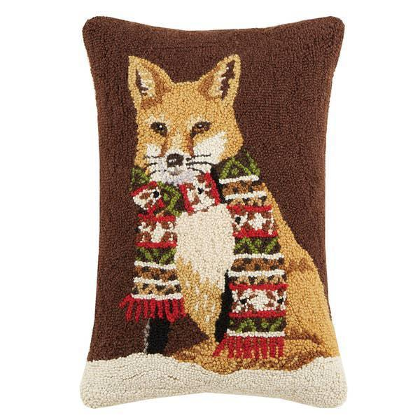 Fox with Scarf Hooked Pillow
