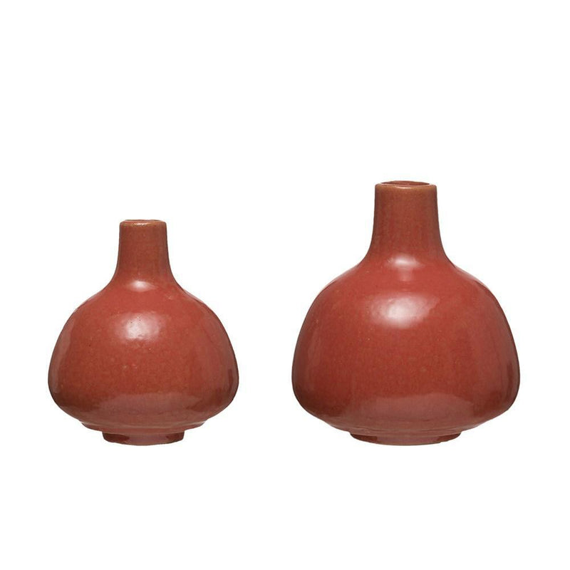 Persimmon Color Stoneware Vases,