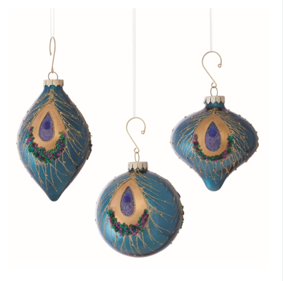 Peacock Glass Ornaments