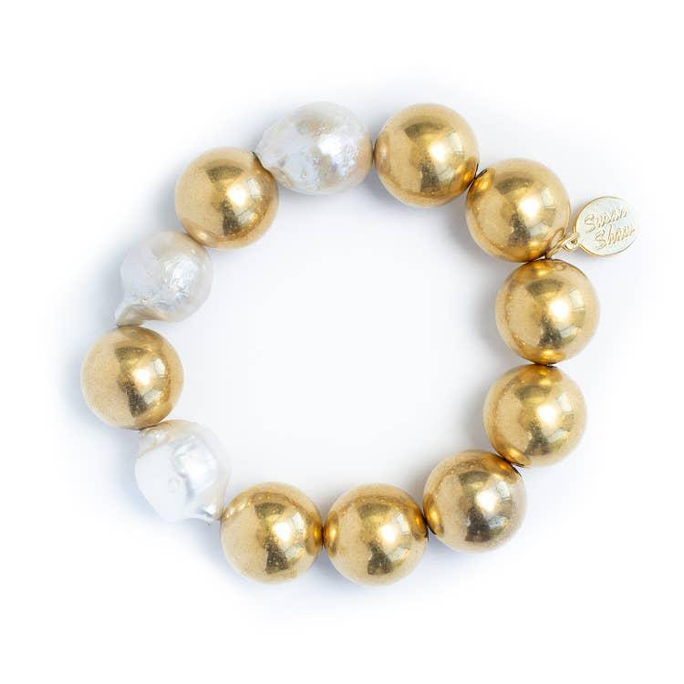Susan Shaw Gold Plated Ball & Baroque Pearl Stretch Bracelet