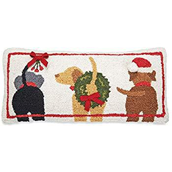 Three Christmas Dogs Hooked Pillow