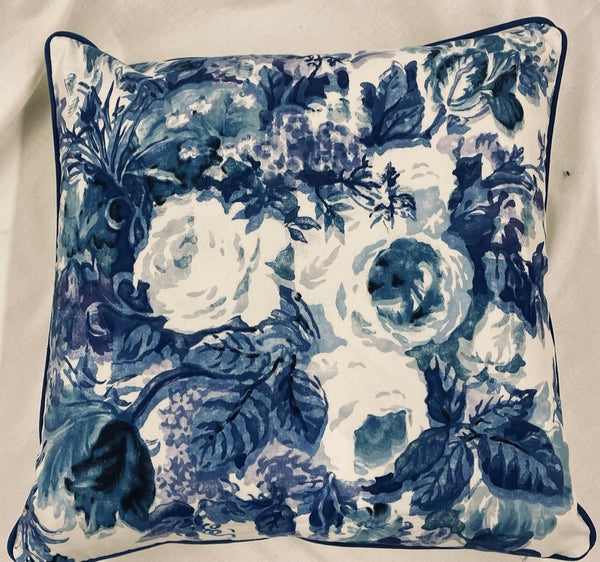 Navy and Purple Floral Design Pillow
