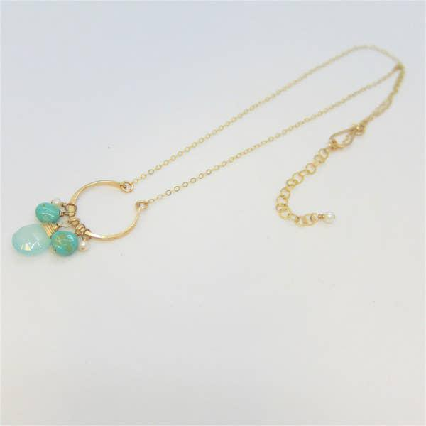 J Mills Crescent Pendant with Turquoise & Gemstone Necklace
