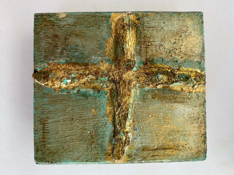 Textured Cross Painted on Wood Block