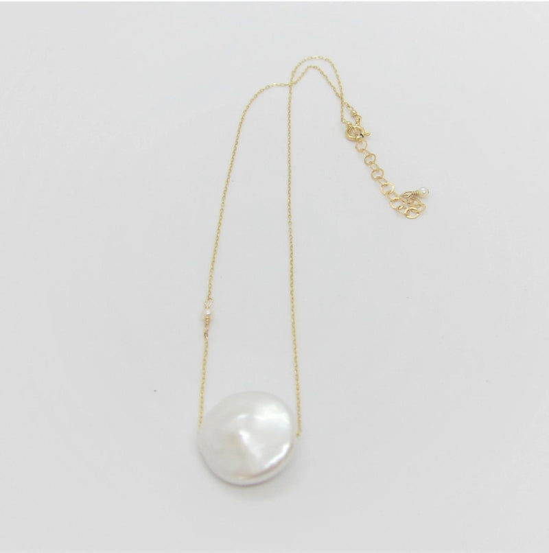 J Mills Solo Coin Pearl Necklace - Gold