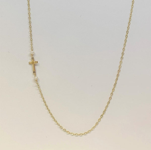 J Mills Tiny Cross Necklace - Gold