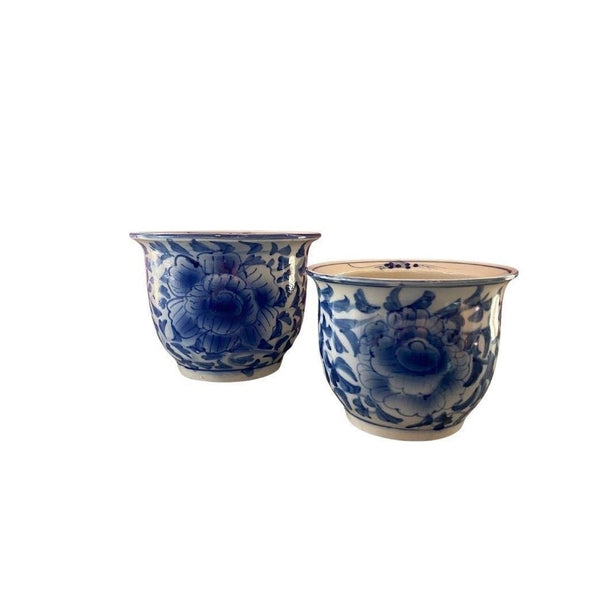 Blue and White Chinoiserie Cachepot