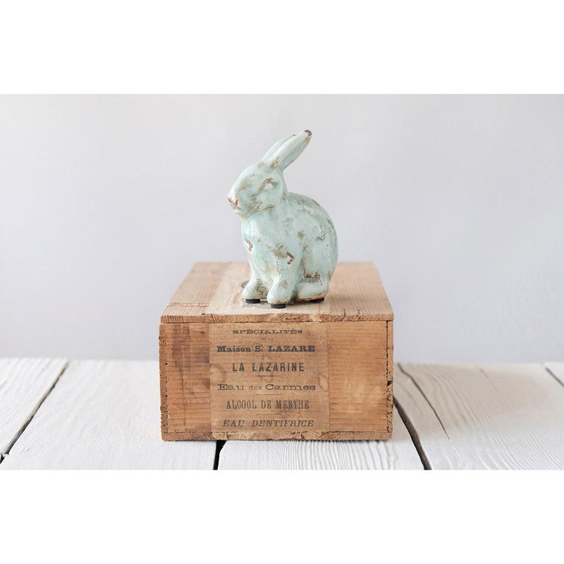 Terra-cotta Rabbit with Distressed Aqua Finish