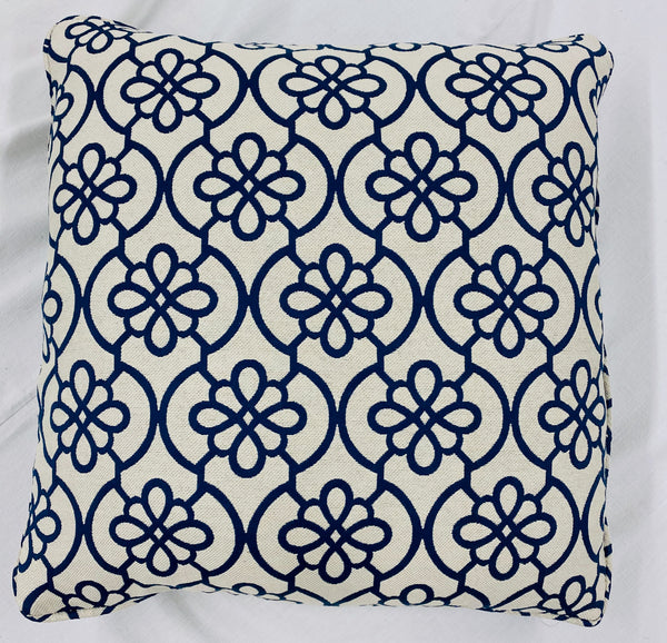 White and Navy Geometric Pillow
