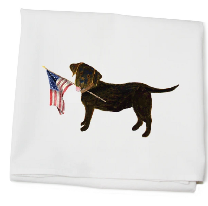 Black Lab with Flag Towel