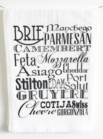 Cheese Words Dish Towel