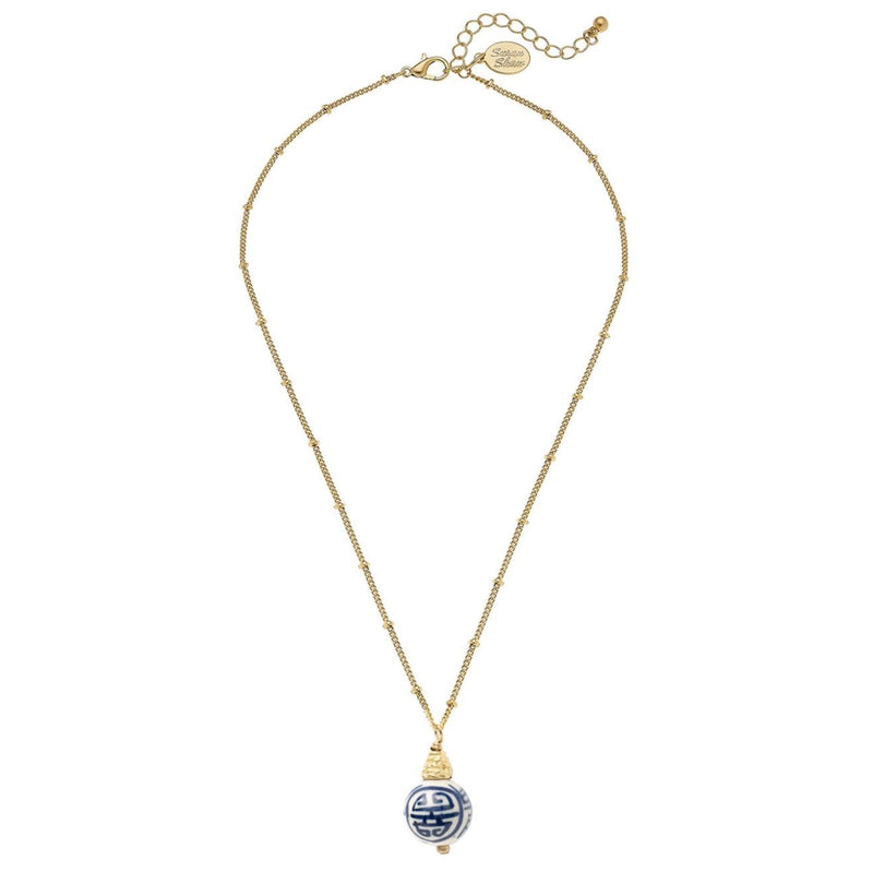 Susan Shaw Blue & White Porcelain Bead on Dotted Gold Chain Necklace