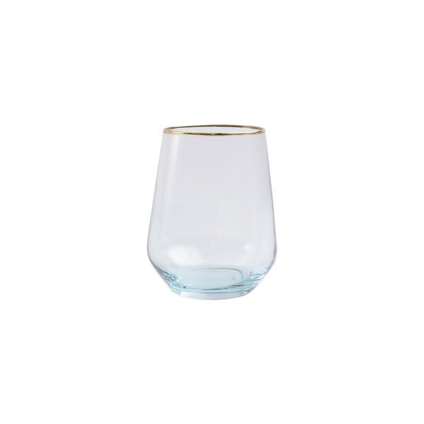 Vietri Rainbow Stemless Wine Glass in Turquoise
