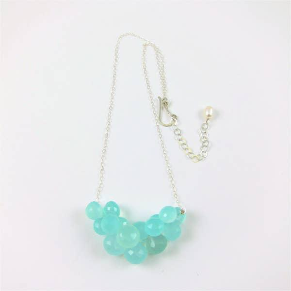 J Mills Aqua Chalcedony Cluster Necklace Silver