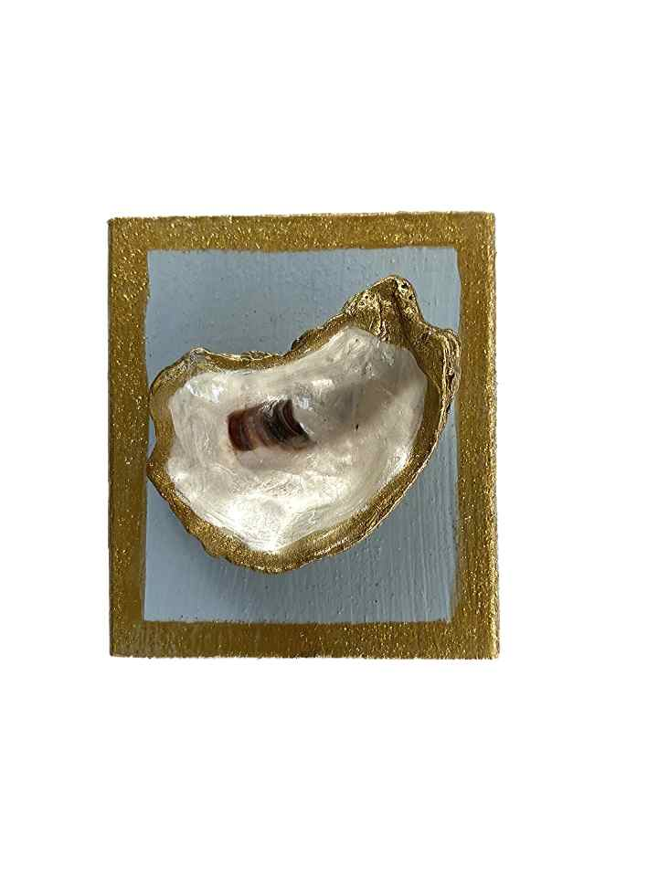 Oyster Shell on Small Wood Block