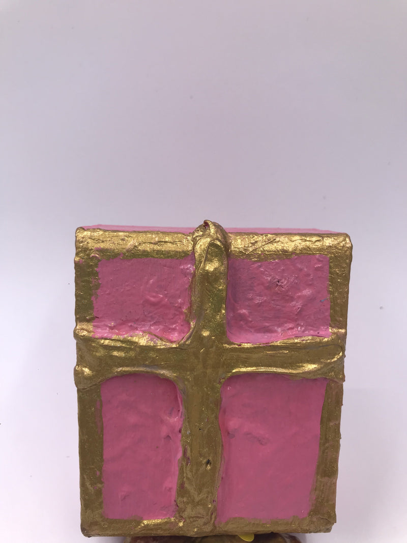 Hand Painted Wooden Gold Cross Block