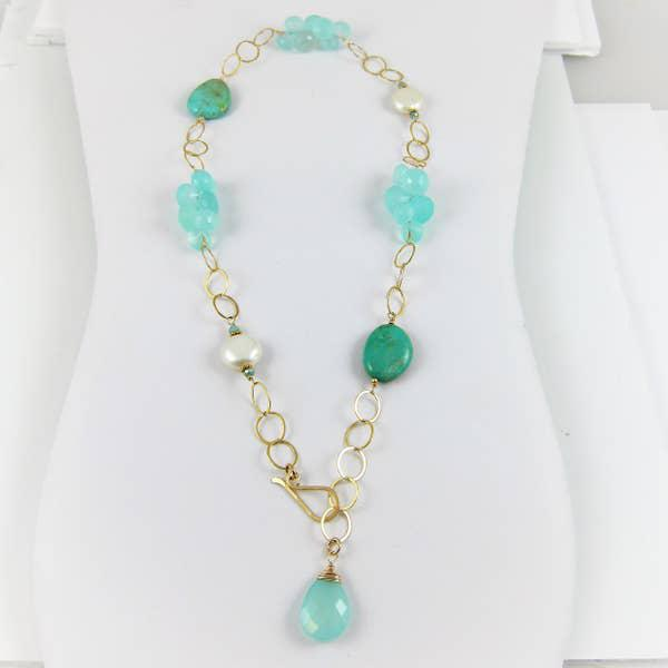 J Mills Aqua Chalcedony Turquoise & Pearl Necklace