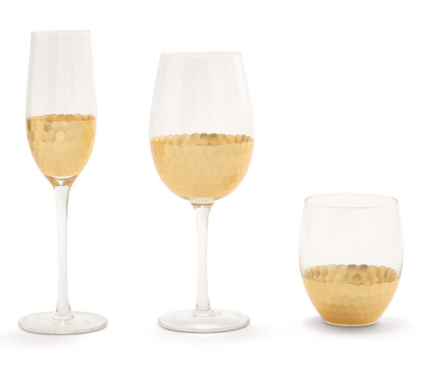 Gold Faceted Bar Glasses