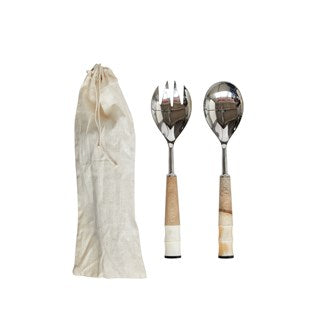 Wood and Horn Salad Server Set