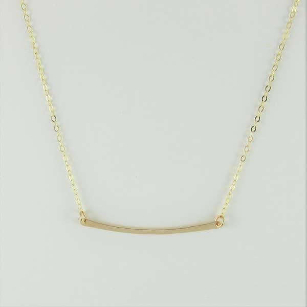 J Mills Gold Forged Bar Necklace