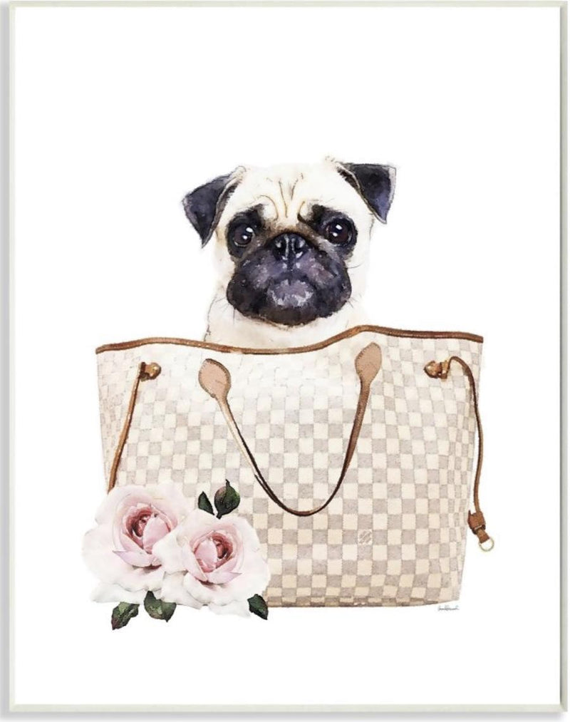 Pug in Checked Designer Bag
