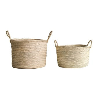 Hand-Woven Moroccan Basket w/ Handles