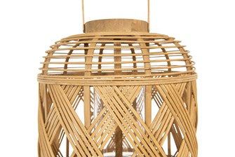 Hand-Woven Bamboo Lantern w/ Handle & Glass Insert