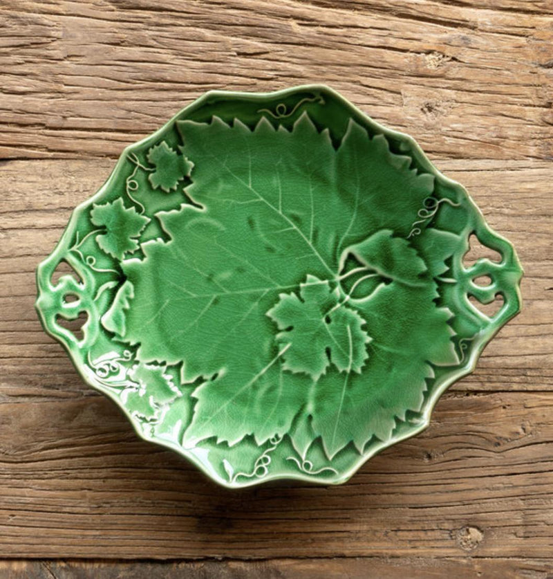 Green Glazed Grape Vine Serving Plate
