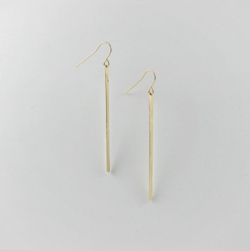 J Mills Large Forged Bar Earrings - Gold