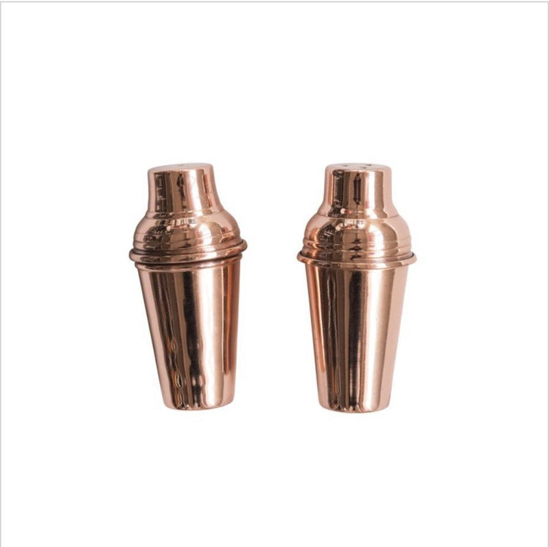 Stainless Steel Salt & Pepper Shakers w/ Copper Finish, Set of 2