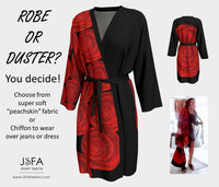Robe Or Duster With Red Rose Art By Jenny Simon JSFA Fashion For A Cause